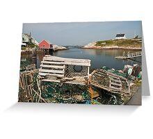 Peggy's cove through a lobster trap Greeting Card