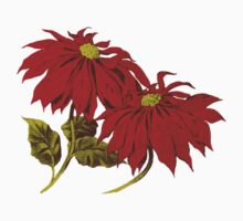 Poinsettia Flowers, Leaves - Red Green Kids Clothes