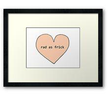 Rad As Frick Tumblr Heart - Peach Framed Print