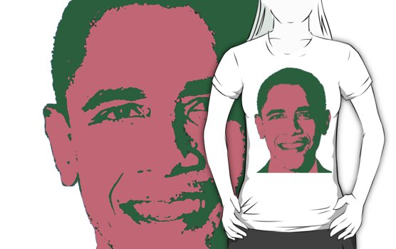 Graphic Obama Face in Pink and Green by Greenbaby