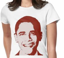 Graphic Obama Face in Deep Maroon  Womens Fitted T-Shirt