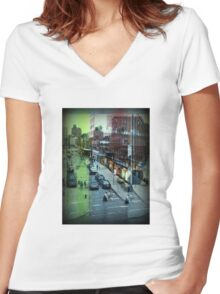 Urban New York Women's Fitted V-Neck T-Shirt