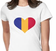 Romania flag heart Womens Fitted T-Shirt