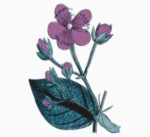 Flower Blossom, Petals, Leaves - Green Purple Kids Clothes