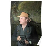 lance markham, everybody, in a silly hat, at gibsons cave Poster