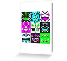 square monster pattern punk Greeting Card