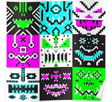square monster pattern punk Poster