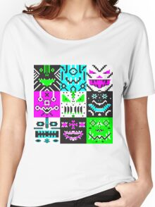 square monster pattern punk Women's Relaxed Fit T-Shirt