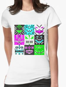 square monster pattern punk Womens Fitted T-Shirt