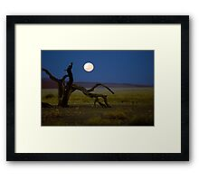 Moon set in the desert.  Framed Print