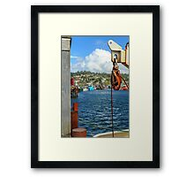 Pulley Cables And Boats Framed Print