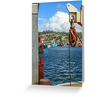 Pulley Cables And Boats Greeting Card