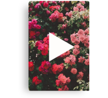 YouTube Logo - Red Floral Background Canvas Print