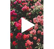 YouTube Logo - Red Floral Background Photographic Print