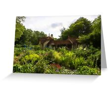 English Cottage Gardens - Summer Green in Watercolor Greeting Card