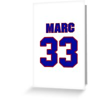 National Hockey player Marc Moro jersey 33 Greeting Card