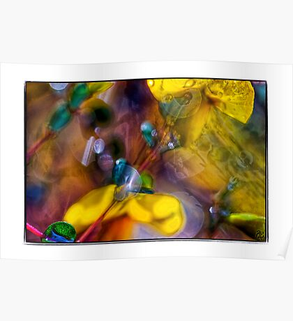 droplets & flowers in abstract Poster