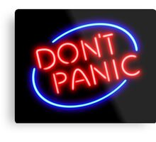 "Hitchhiker's Guide - ""Don't Panic"" Neon Sign Metal Print"