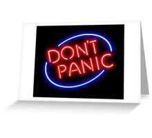 """Hitchhiker's Guide - """"Don't Panic"""" Neon Sign Greeting Card"""