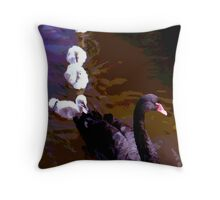 Black Swan & Cygnets, Dawlish, Devon Throw Pillow