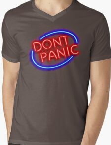 """Hitchhiker's Guide - """"Don't Panic"""" Neon Sign Mens V-Neck T-Shirt"""