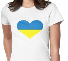 Ukraine heart flag Womens Fitted T-Shirt