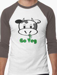 """Cow """"Go Veg"""" Men's Baseball ¾ T-Shirt"""