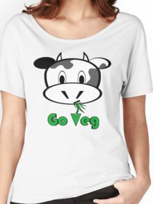 "Cow ""Go Veg"" Women's Relaxed Fit T-Shirt"