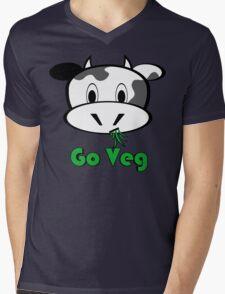 "Cow ""Go Veg"" Mens V-Neck T-Shirt"