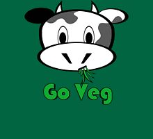 "Cow ""Go Veg"" Womens Fitted T-Shirt"