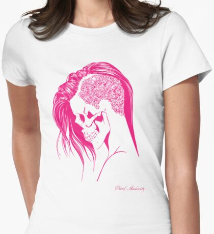 PINK PUNK SKULL GIRL Womens Fitted T-Shirt