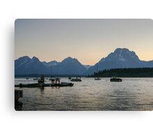 Jackson Lake Marina at dusk Canvas Print