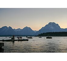 Jackson Lake Marina at dusk Photographic Print