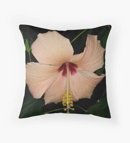 Hibiscus Peach Throw Pillow