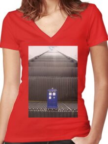 Stairway to TARDIS Women's Fitted V-Neck T-Shirt