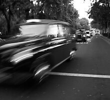 The problem with taxi's is they will pickup anyone. (Black and white) by Joshua Thurston