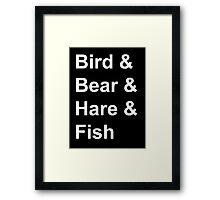 Bird, Bear, Hare and Fish Framed Print
