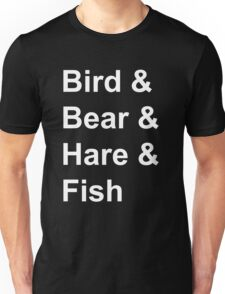 Bird, Bear, Hare and Fish Unisex T-Shirt