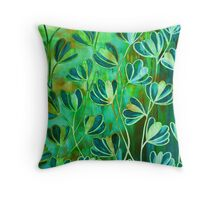 EFFLORESCENCE Lime Green Turquoise Blue Brown Floral Garden Watercolor Painting Pattern Flowers Nature Fine Art Design Throw Pillow
