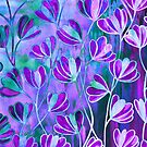 EFFLORESCENCE Lilac Lavender Purple Turquoise Blue Floral Garden Watercolor Painting Pattern Flowers Nature Fine Art Design  by EbiEmporium