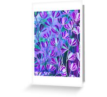 EFFLORESCENCE Lilac Lavender Purple Turquoise Blue Floral Garden Watercolor Painting Pattern Flowers Nature Fine Art Design  Greeting Card