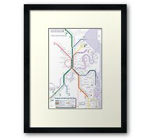 Brisbane and Gold Coast Train, Tram and Ferry map Framed Print