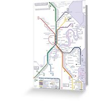Brisbane and Gold Coast Train, Tram and Ferry map Greeting Card