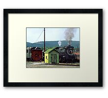 Steam Engine Coming into Train Yard Framed Print