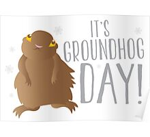 It's GROUNDHOG DAY! with cute little groundhog and snowflakes Poster