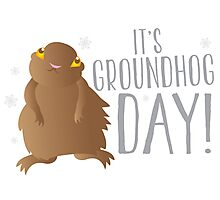 It's GROUNDHOG DAY! with cute little groundhog and snowflakes Photographic Print