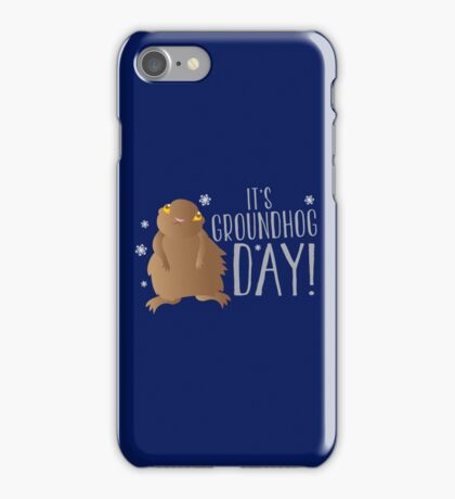 It's GROUNDHOG DAY! with cute little groundhog and snowflakes iPhone Case/Skin
