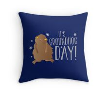 It's GROUNDHOG DAY! with cute little groundhog and snowflakes Throw Pillow