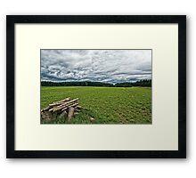 A pile of wood Framed Print