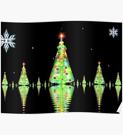 Christmas Tree Heaven on Snowy Lake Poster